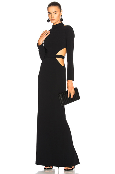 Brandon Maxwell Long Sleeve Cut Out Gown in Black