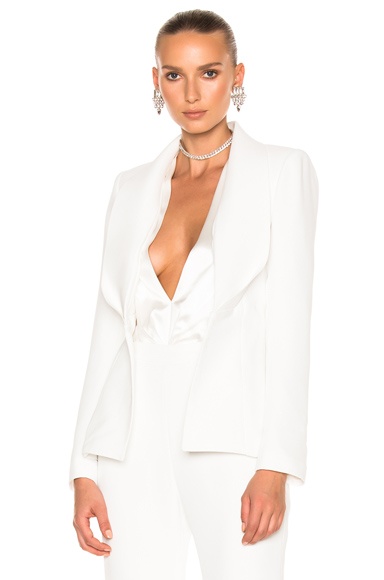 Brandon Maxwell Folded Lapel Jacket in White