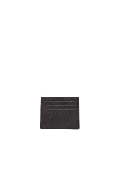Bottega Veneta Soft Crocodile Cardholder in Black.