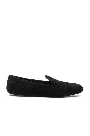 Bottega Veneta Woven Suede Flats in Black
