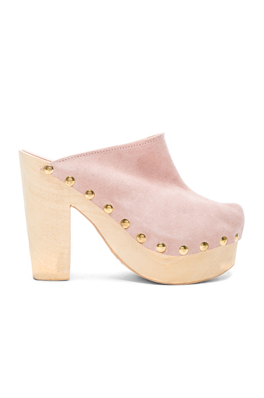 Brother Vellies Suede Clogs in Pink