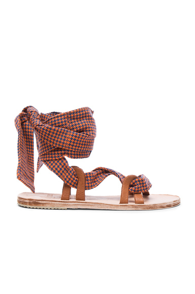 Brother Vellies Zanzibar Sandals in Orange, Checkered & Plaid