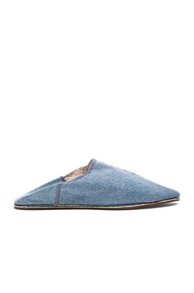 Brother Vellies Sherpa Babouche Slides in Blue