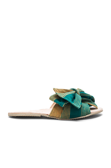 Brother Vellies Burkina Slide in Green, Stripes