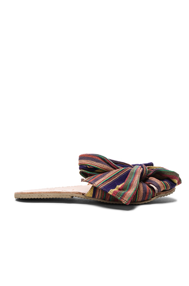 Brother Vellies Burkina Slide in Purple, Red, Stripes, Orange