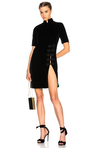 BEAU SOUCI Velvet Slit Dress in Black