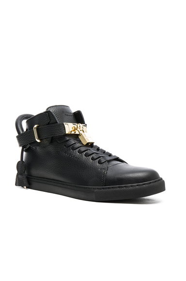 Buscemi 100MM High Top Pebbled Leather Sneakers in Black. - size 11 (also in 10,12,8,9)