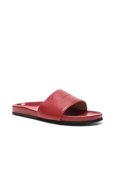 Buscemi Classic Leather Slide Sandals in Red. - size 10 (also in 12,8,9)
