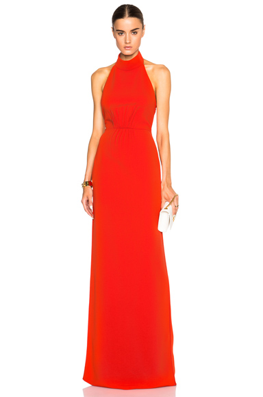 Calvin Klein Collection Feya Stretch Matt Cady Dress in Red