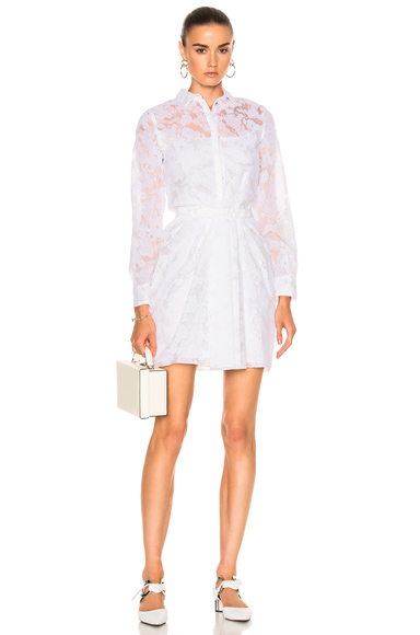 Carven Collared Long Sleeve Dress in White