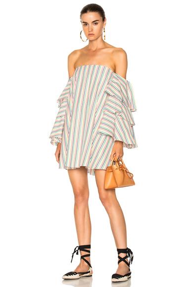 Caroline Constas for FWRD Carmen Dress in Stripes, Green, White