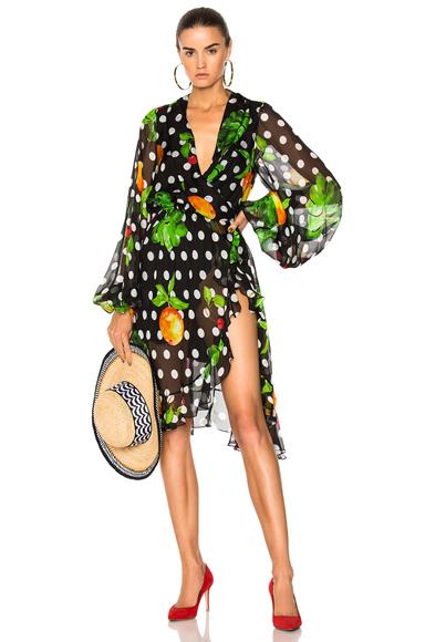 Caroline Constas for FWRD Olivia Mini Dress in Black, Geometric Print, Floral