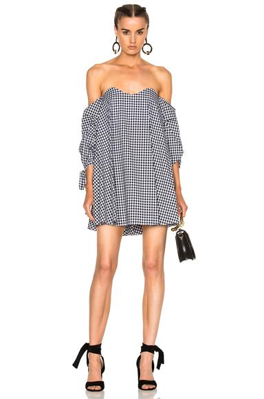 Caroline Constas for FWRD Gabriella Dress in Black, Checkered & Plaid, White