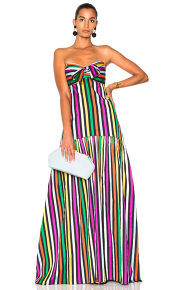 Caroline Constas Dress in Green, Pink, Stripes, Yellow