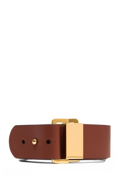 CHLOE | Sliders Calfskin Leather Belt in Brownie Brown