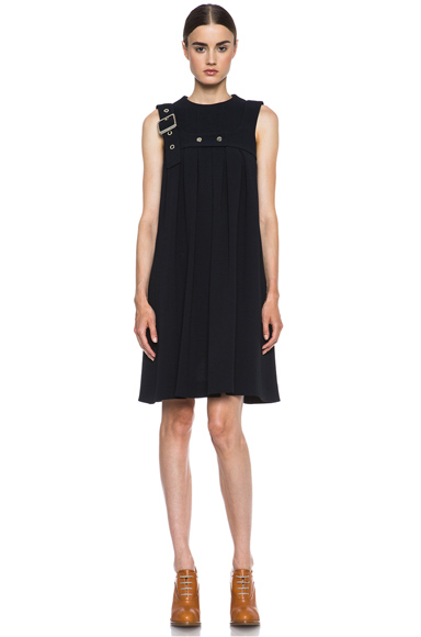 CHLOE | Pleated Harness Acetate-Blend Dress in Navy