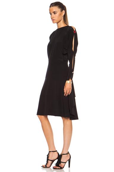 CHLOE | Crepe De Chine Open Shoulder Dress in Black