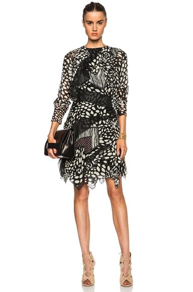 CHLOE | Shadow Spots Georgette Dress in Black & White