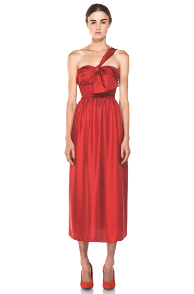 CHLOE | One Shoulder Silk Bow Dress in Red