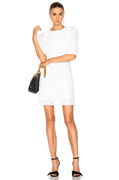 Chloe Broderie Anglaise Cady Mini Dress in White
