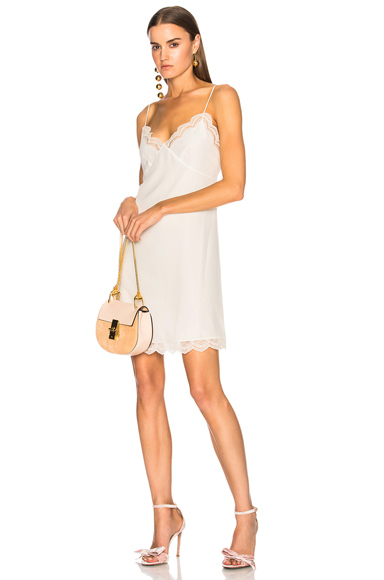Chloe Parachute Silk Lace Trim Slip Dress in White