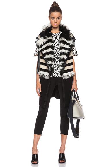 CHLOE | Striped Shearling Long Vest in Black & Cream