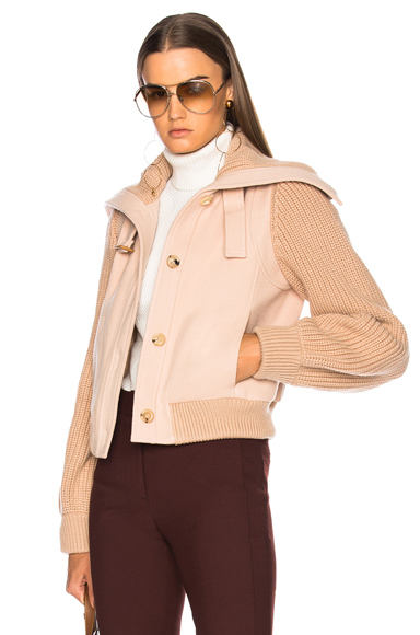 Chloe Soft Brushed Wool Bomber Jacket in Pink