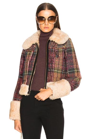Chloe Tweed Check Jacket in Checkered & Plaid, Green