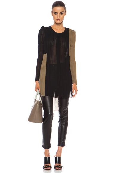 CHLOE | Colorblock Pleated Georgette Top in Onyx Black & Light Kaki