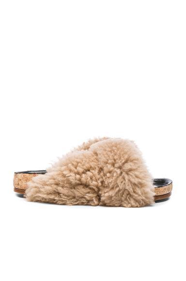 Chloe Kerenn Shearling Fur Sandals in Neutrals