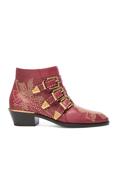 Chloe Susanna Leather Studded Booties in Red