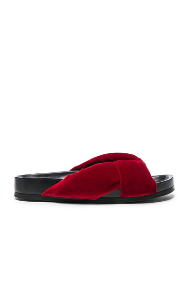 Chloe Velvet Nolan Slides in Red