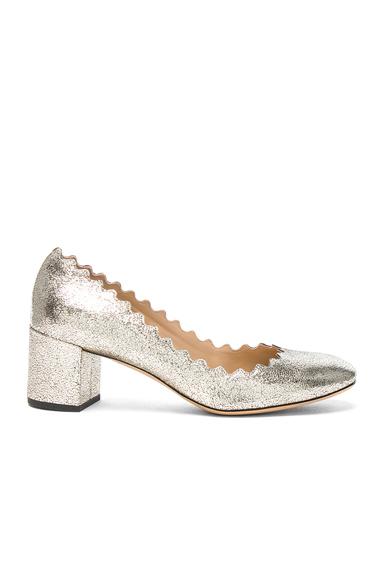 Chloe Leather Lauren Heels in Metallics