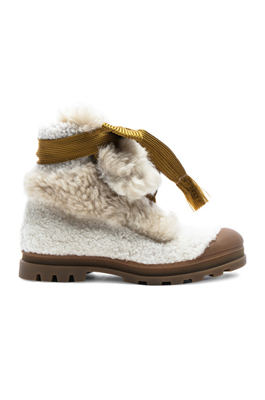 Photo of Chloe Parker Shearling Hiking Boots in White online womens shoes sales