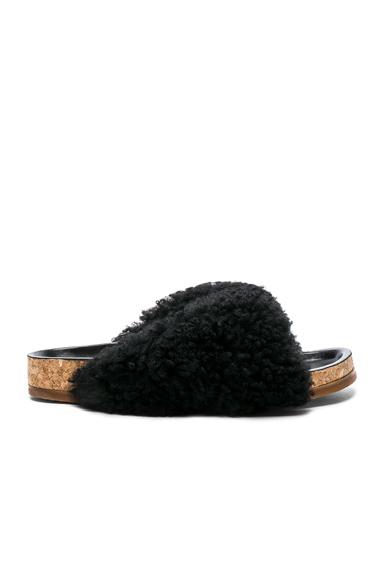 Chloe Shearling Fur Kerenn Sandals in Black