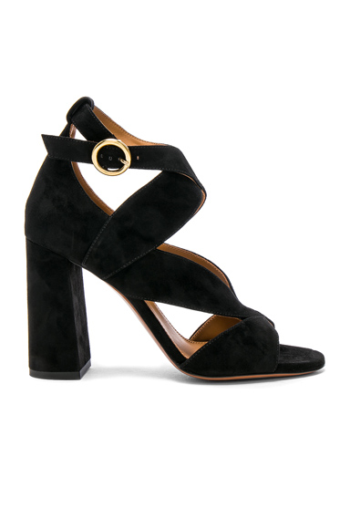 Chloe Suede Graphic Leaves Sandals in Black