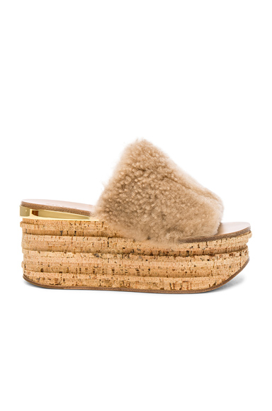 Chloe Sheep Fur Camille Wedge Sandals in Neutrals