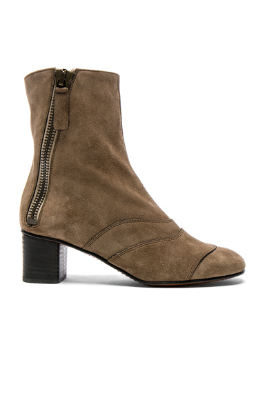 Chloe Suede Lexie Low Boots in Gray