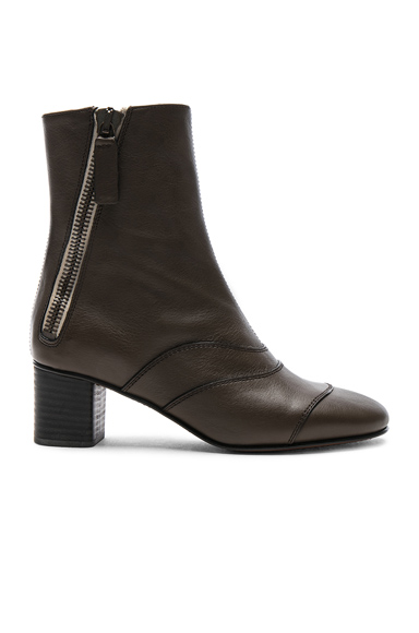 Chloe Leather Lexie Short Boots in Brown