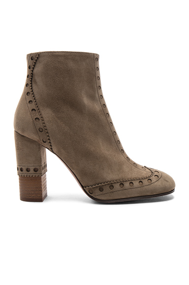 Chloe Perry Suede Heeled Boots in Brown