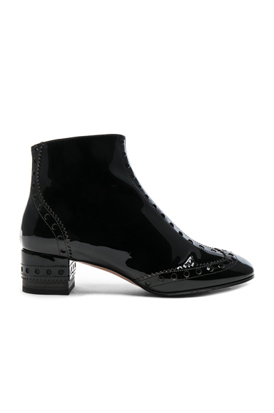Chloe Perry Patent Leather Ankle Boots in Black