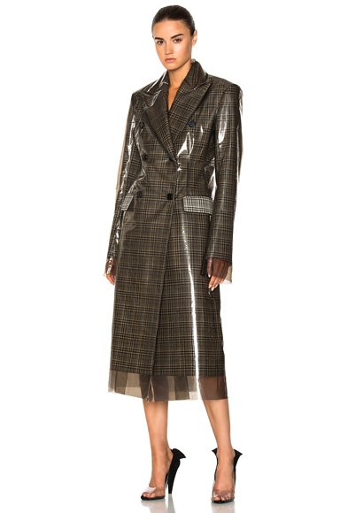 CALVIN KLEIN 205W39NYC Glen Plaid Wool & Matte Polyurethane Film Trench Coat in Brown, Checkered & Plaid