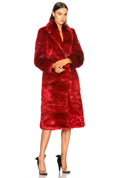 CALVIN KLEIN 205W39NYC Long Faux Fur Coat in Purple, Red