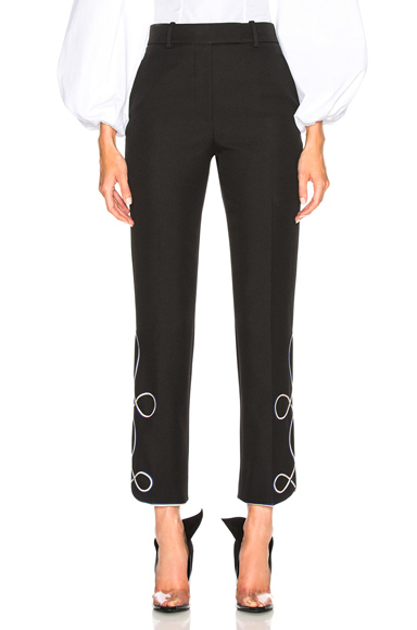 CALVIN KLEIN 205W39NYC UNIFORM TWILL EMBROIDERED CROPPED TROUSERS IN BLACK