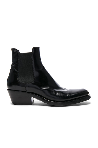 CALVIN KLEIN 205W39NYC Leather Western Claire Ankle Boots in Black