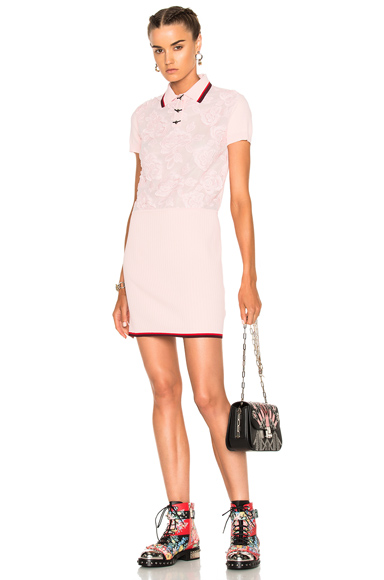 Coach 1941 Rose Lace Polo Sweater Dress in Pink