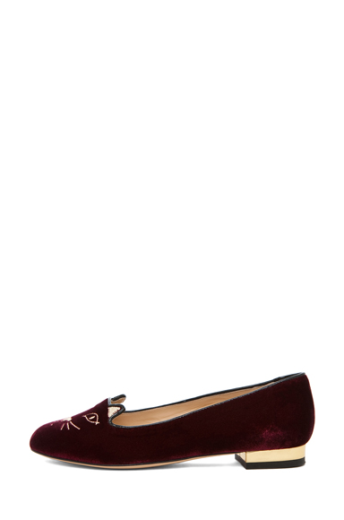 CHARLOTTE OLYMPIA | Kitty Velvet Flats in Burgundy
