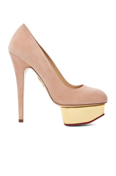 CHARLOTTE OLYMPIA | Dolly Signature Court Island Suede Pumps in Blush