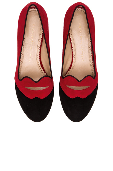 CHARLOTTE OLYMPIA | Bisoux Suede Flats in Red & Black