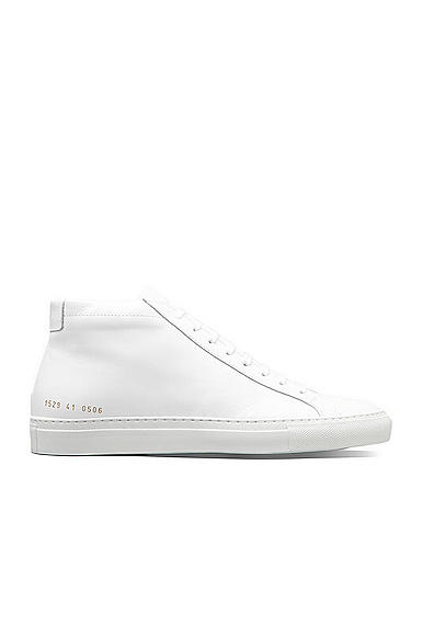 Common Projects Original Achilles Leather Mid Tops in White. - size Eur 42 / US 9 (also in Eur 41 / US 8,Eur 43 / US 10,Eur 44 / US 11,Eur 45 / US 12)